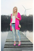 hot pink sweater - sky blue jeans - black bag - bubble gum pumps - white top