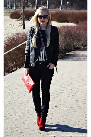 red Primark shoes - black Mango jacket - white shirt - red SH bag