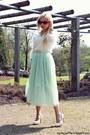 White-sweater-ivory-bag-bronze-sunglasses-light-blue-skirt-cream-pumps