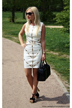 white dress - black shoes - black batycki bag - black Mango sunglasses