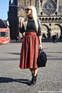 Red-skirt-black-boots-black-h-m-diy-sweater-black-bag-gold-necklace