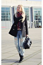 black boots - black coat - sky blue jeans - red scarf - black bag