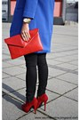 Blue-coat-red-primark-shoes-camel-guess-watch-white-zara-blouse