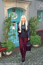 black shoes - black batycki bag - brick red Primark pants