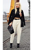black shoes - black coat - black sweater - black bag - ivory pants - gold watch