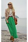green skirt - bronze Stradivarius shoes - beige H&M jacket