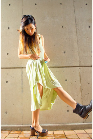 lime green Zara dress - black vintage boots