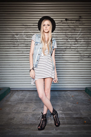 black obey hat - blue Hurley vest - white H&amp;M dress - black Jeffrey Campbell sho