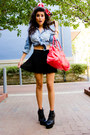 Sky-blue-denim-button-up-gap-shirt-black-platform-jeffrey-campbell-boots