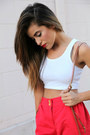 Red-track-pants-mason-and-belle-pants-white-topshop-top