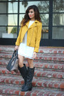 Dark-gray-just-fab-boots-white-zara-dress-mustard-greylin-collection-jacket