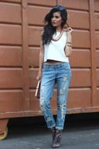 CCSKYE bracelet - leopard Forever 21 boots - boyfriend jeans NORSTROM jeans
