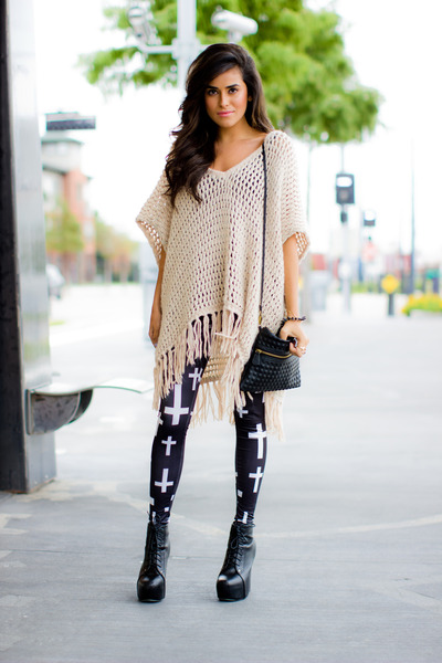poncho Topshop cape - litas Jeffrey Campbell boots - cross asos leggings