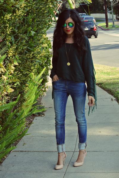 blue Zara jeans - green aviators Forever21 sunglasses