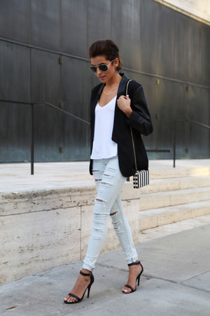 black leather sleeves JC Penney blazer - distressed Topshop jeans