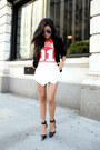 White-skort-leather-luna-b-skirt-black-pointed-toe-jeffrey-campbell-heels