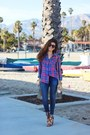 Navy-extra-stretch-black-orchid-jeans-violet-flannel-rails-shirt