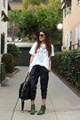 Green-wedges-seychelles-shoes-white-graphic-tee-tdolmel-shirt-black-zara-bag