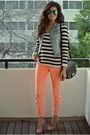 Orange-neon-skinnies-bdg-jeans-white-striped-h-m-sweater