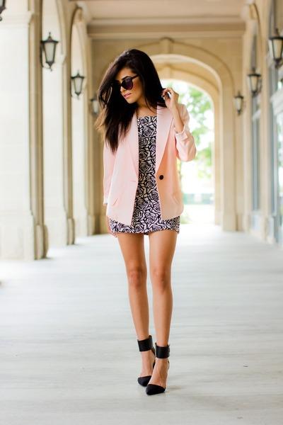 light pink smythe blazer - white Forever21 dress - black strappy Zara heels