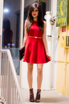 red Love dress - leopard Forever21 boots - skinny gold vintage belt