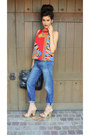 Red-scarf-print-lovers-and-friends-top-navy-boyfriend-jeans-gap-jeans