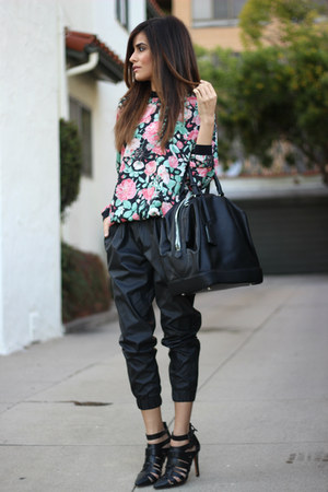 black Zara bag - Urban Outfitters pants - Lovers and Friends sweatshirt