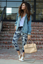 denim oversized Topshop jacket - navy Forever 21 pants - white Shoedazzle heels
