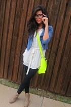 chartreuse neon satchel Target bag - denim jacket H&M jacket - Forever21 blouse