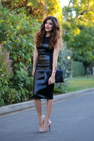 black Vivian Chan dress - black clutch bcbg max azria bag