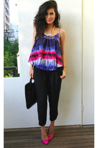 tie dye Lovers and Friends top - black harem pants asos pants