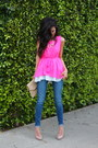 Hot-pink-sheinsidecom-dress-navy-denim-rich-and-skinny-jeans