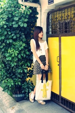 white stepdads shirt - brown random skirt - white moodoo ology canvas bag - whit