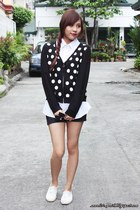 black sweater - black random shorts - white babo blouse - white Keds sneakers