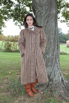 Vintage 80s Pauline Trigere Mohair Coat Striped Carmel Wool Winter Outerwear L