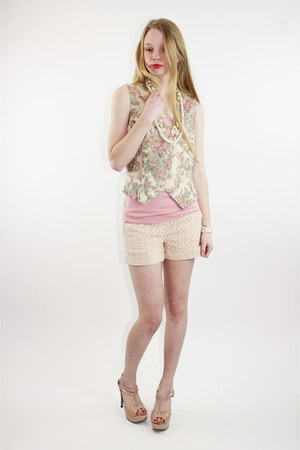 light pink floral brocade Vintage Prophecy vest - tan eyelet lace Kenar shorts