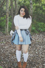 Dolce Vita boots - H&M sweater - Forever 21 shirt - cotton on skirt