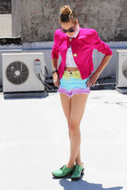 hot pink vintage blazer - white weekdays shirt - hot pink UNIF shorts