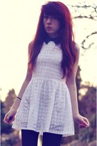 black Forever 21 boots - white galaxy collar Sister Jane dress