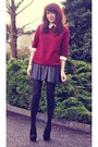 Ruby-red-collar-oasap-jumper-silver-sparkle-asos-skirt