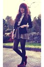 Black-velvet-secondhand-blazer-ivory-dorothy-perkins-shirt