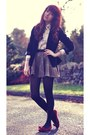 Black-velvet-secondhand-blazer-ivory-dorothy-perkins-shirt