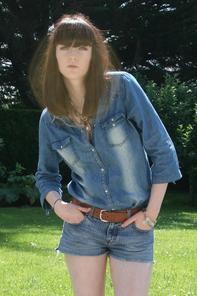 blue denim Penneys shirt - blue denim cut offs DIY shorts - brown vintage belt -