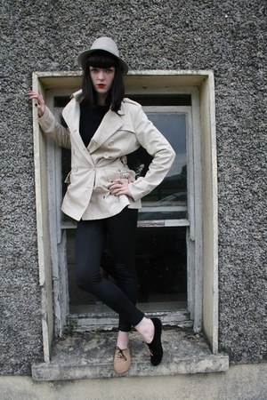 camel odd dunnes stores shoes - cream Awear coat - heather gray trilby H&amp;M hat -