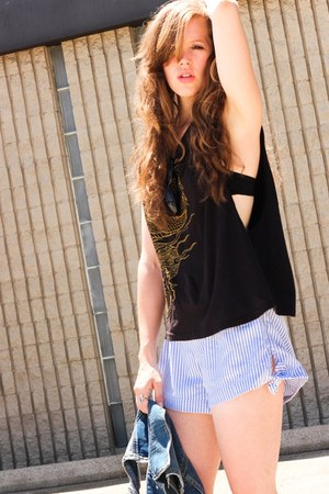 black Urban Outfitters shirt - sky blue francescas collections shorts