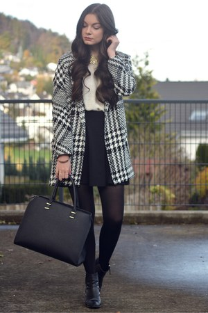 black H&M shoes - black Mango coat - black H&M bag - white H&M jumper