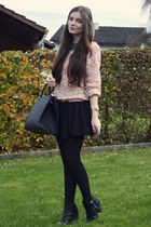 gold brandy melville ring - black H&M boots - light pink Lookbook Store sweater