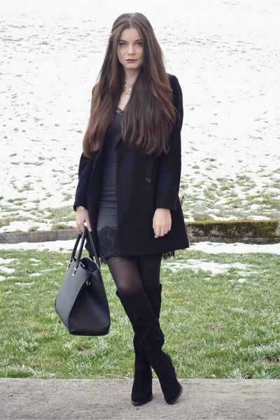 black Zara boots - charcoal gray Zara dress - black Zara coat - black H&M bag