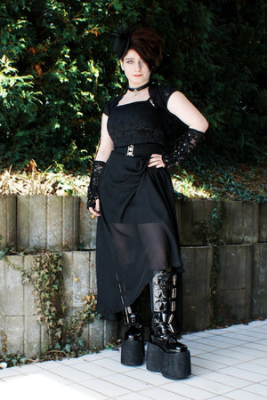 black Demonia boots - black gifted dress - black DIY skirt