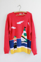 Vintage Izod Red Beach Scene Sweater